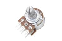 Резистор переменный 6pin(3+3) B50K d=16mm L=15mm стерео (с рифлением + шлиц) №010093
