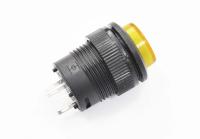 Кнопка R16-503BD-Y Off-(On) 250V 3A D=16mm желтая (без фиксации) LED подсветка - 3V