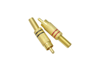 "Разъем RCA ""шт"" металл gold на кабель ""винт"" (2шт) 1-210G"