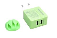 Сетевое зарядное устройство More choice NC46 2USB 2.4A green